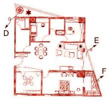 「畸零」陽宅的化解法─ D:在尖形的地方,設立三角形的花草盆景,使進屋的人,不覺得有尖形即可。E:在尖形部位,隔成了衣櫥或儲藏室,亦可化解凶煞。F:用窗簾把三角形的空間隔起來,這三角形的空間,可放衣物。p1129-a1-03