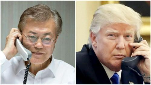 南韓新總統文在寅10日晚與美國總統川普通電話,雙方就儘早舉行韓美高峰會談達成共識。 p1160-a4-01