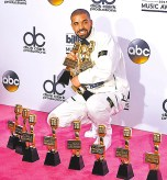 男歌手德瑞克Drake獲 年度藝人和男歌手等13座大獎
