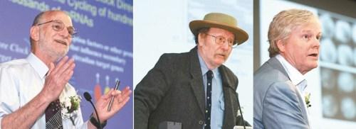 2017諾貝爾醫學獎美國學者羅斯巴許(左起)、霍爾與楊恩。p1181-a4-01a