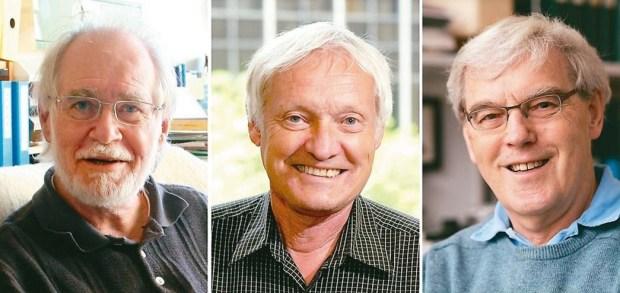 2017年諾貝爾化學獎由三人共同摘下桂冠,從左至右為瑞士科學家杜巴謝、美國科學家法蘭克、英國科學家韓德森。