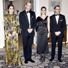 威廉王子和凱特王妃與 瑞典首相斯特凡羅芬和妻子蘇拉洛夫芬合影