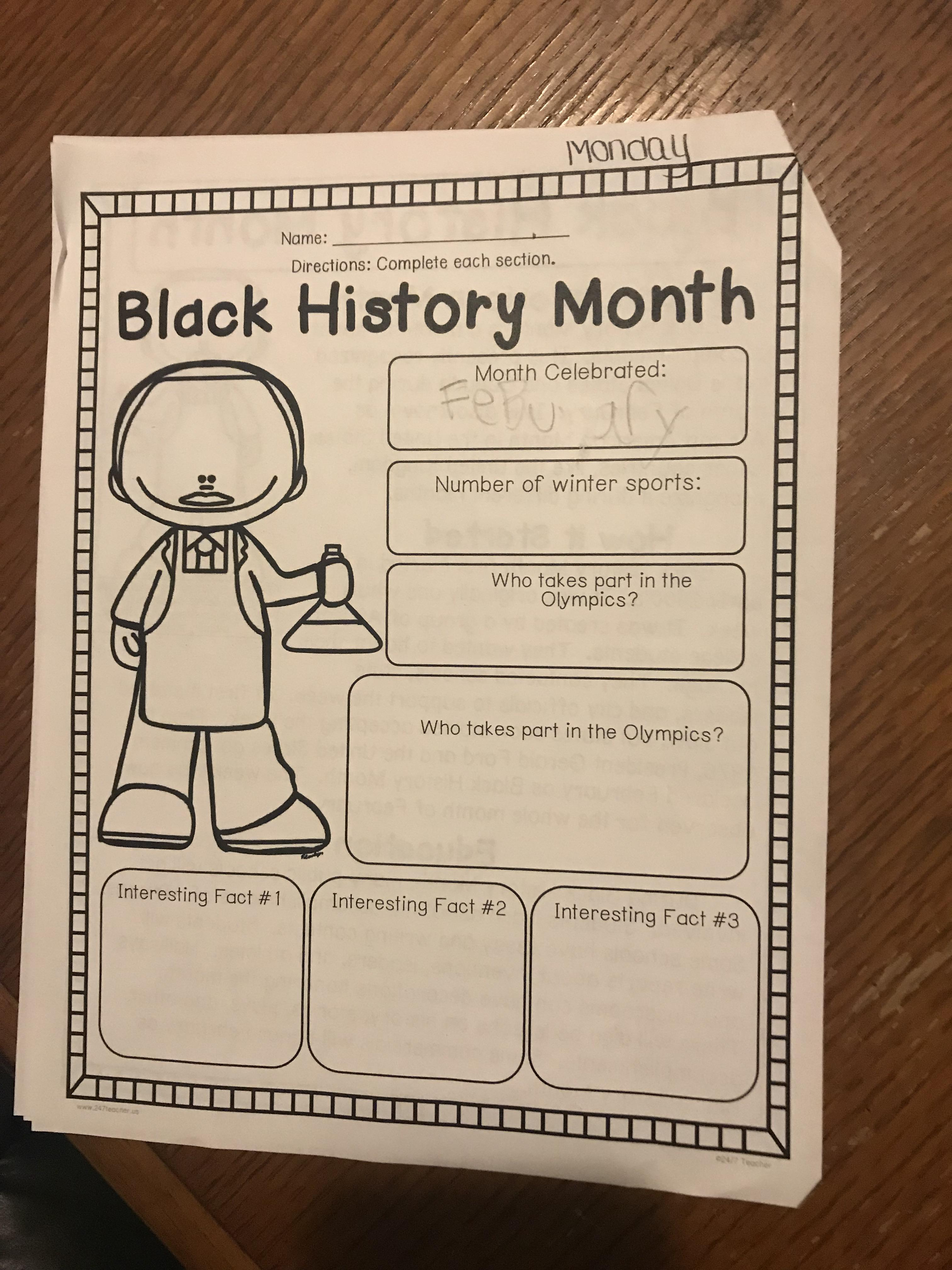 Black History Month Worksheet In A Florida School