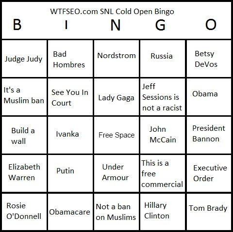 SNL Cold Open Bingo Card