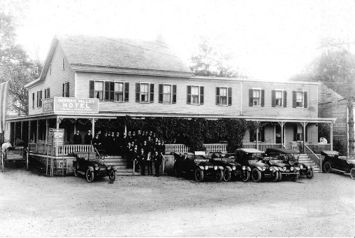 Once called the German Valley Inn, this building was the earliest hotel in Washington Township. It served people traveling on the Washington Pike. Albert Einstein occasionally came on Sundays for a chicken dinner.