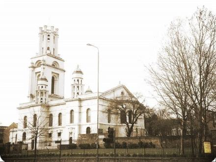 St George's-in-the-East from The Highway, February 2000. Photo: S Williams. Source: London Gardens Online.