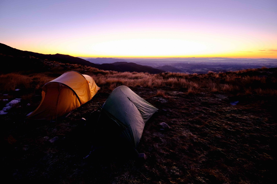 Tents at sunrise at Tarn Bivvy