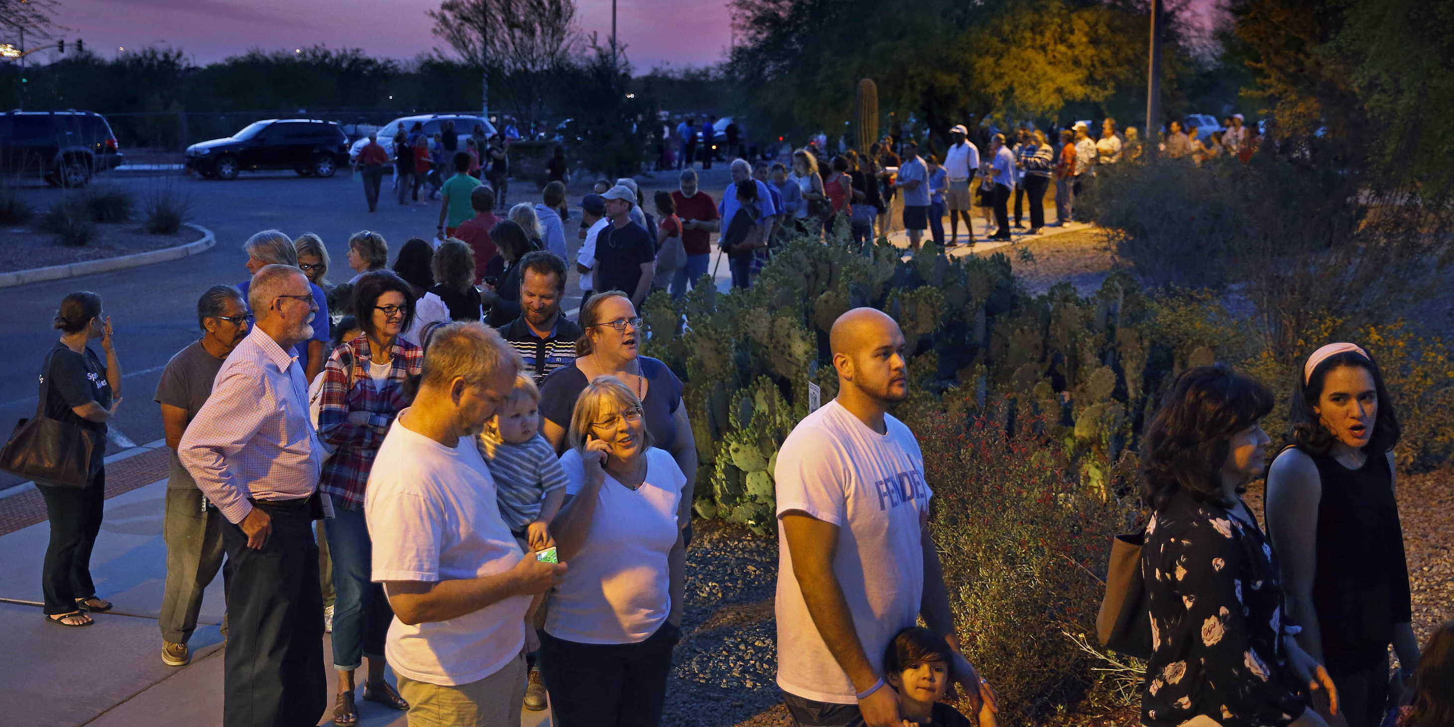 Image result for images of lines of people waiting to vote in 2016 election