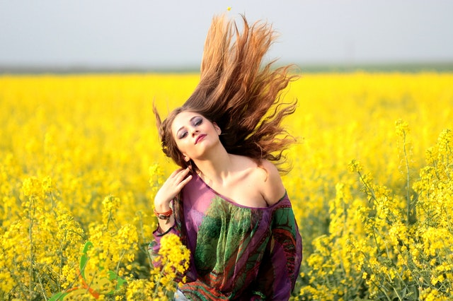 Cute happy girl in the mustard garden  images for whatsapp dp