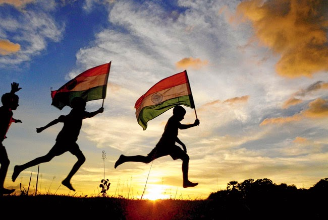 Little boys running with Indian flag image download