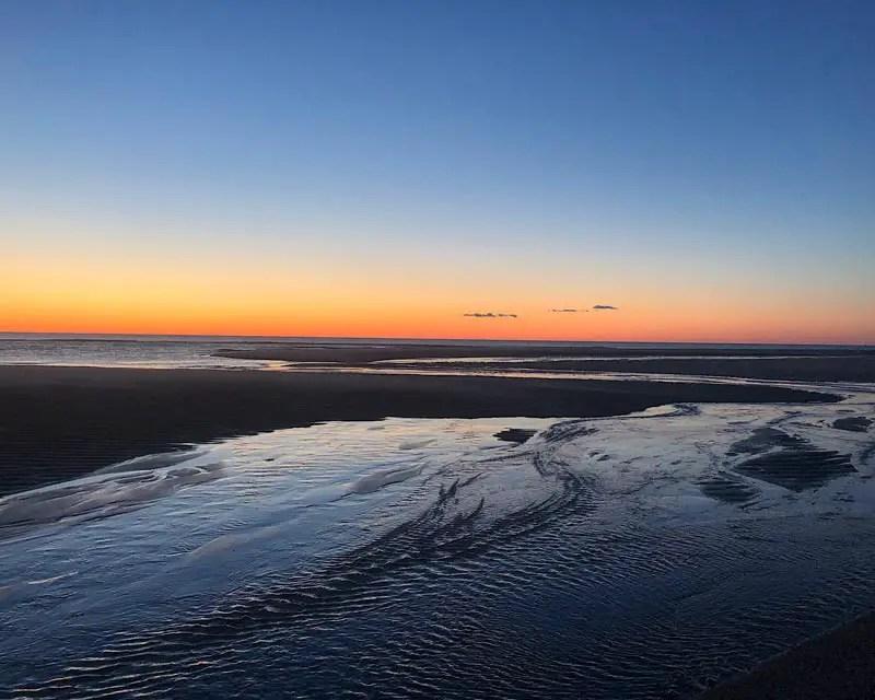 Zonsondergang op het westelijke strand van Sylt