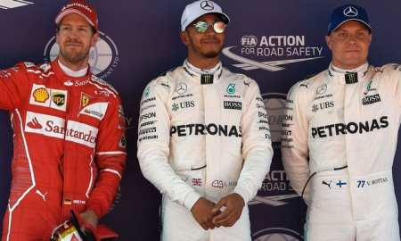 Hamilton takes pole, Vettel Second, BOttas third, Kimi Fourth.
