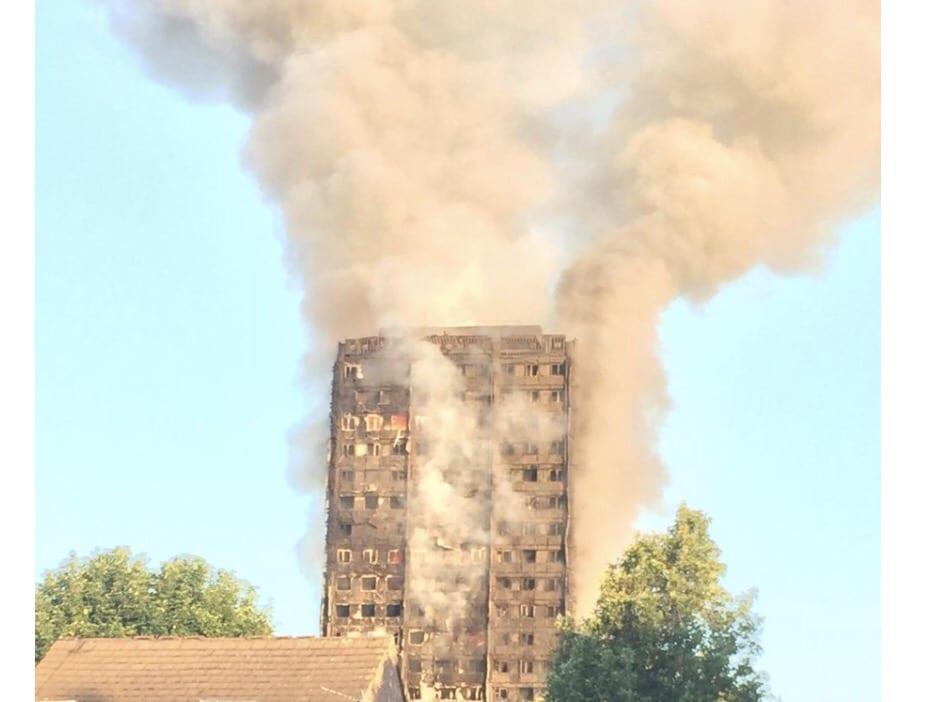 A huge fire devastates a block of flats in London