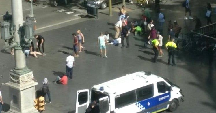 Breaking: White Van hits tourists in Las Rambla, Spain Barcelona