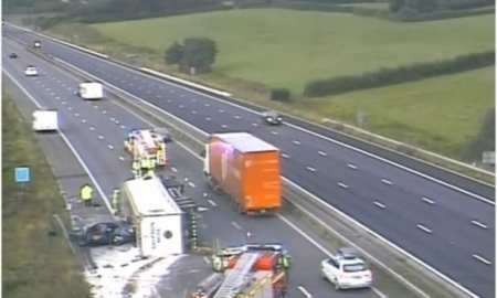 A Lorry crash on the M5 causes huge spill