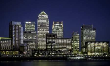 City of shot of Canary Wharf - with Brexit looming