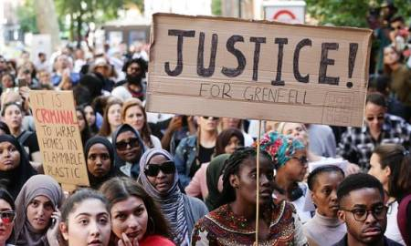 Hundreds of Grenfell Tower protesters have staged an impromptu march on Whitehall, angry with the response from the Government