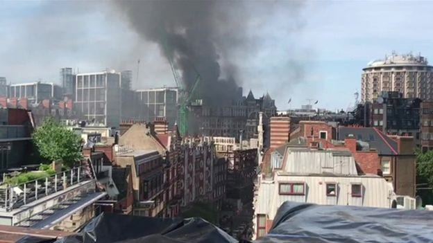 BREAKING NEWS: Fire in London rips through 5 star Mandarin Oriental hotel in Knightsbridge