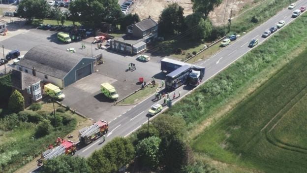 Breaking News: Two Men Killed in Cambridgeshire bus and lorry crash