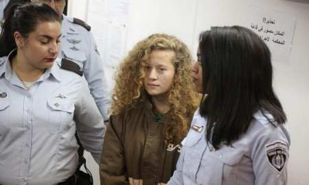 17 year old Palestinian Ahed Tamim relaesed after 8 months in jail
