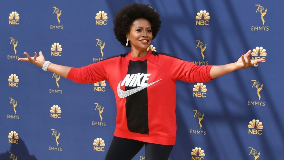Jennifer-lewis- supporting Nike slogan 'Just do It' for the company's support of Colin Kaepernick kneel in the NFL