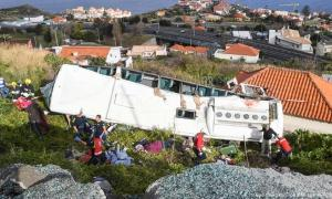 The bus carrying 55 people rolled down the side of the hill in the coastal town in Canico