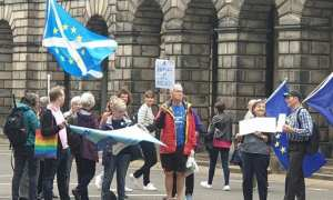 Crowds outisde the Court of Sessions in Edinburgh