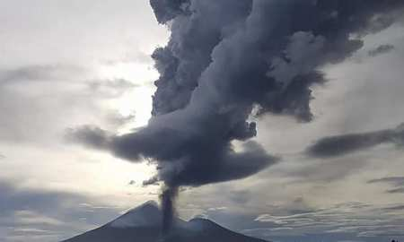 Volcano erupts sending lava shooting in the air