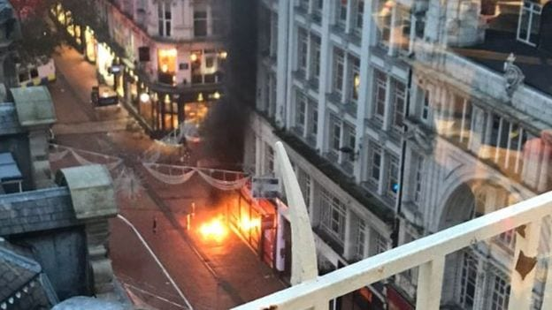 Breaking news: Fire rises above New Street in Birmingham