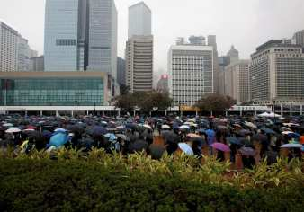 hong kong rally in the rain