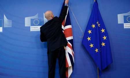 British-flag-being-lowered-in-Brussels-last-night-at-2300-GMT-to-mark-Britain's-exit-from-the-EU
