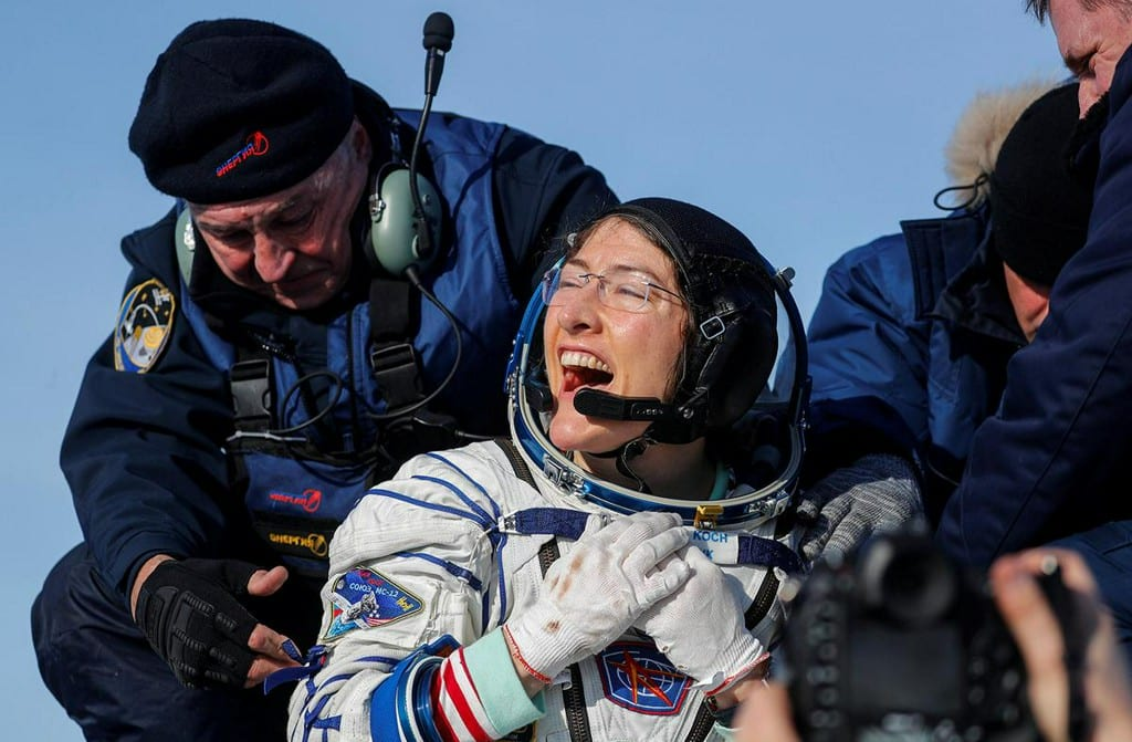 record mission for noch as she returns to earth