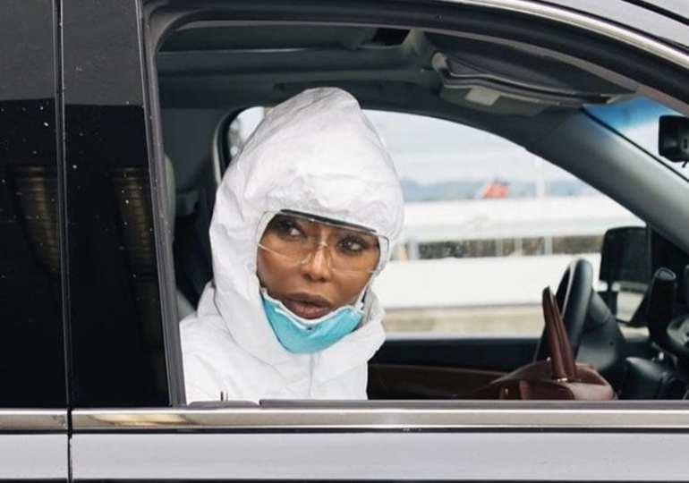 Coronavirus: Naomi Campbell wears full hazmat suit at LAX