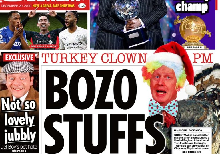The Star on Sunday leads with the headline 'Bozo Stuffs Xmas'