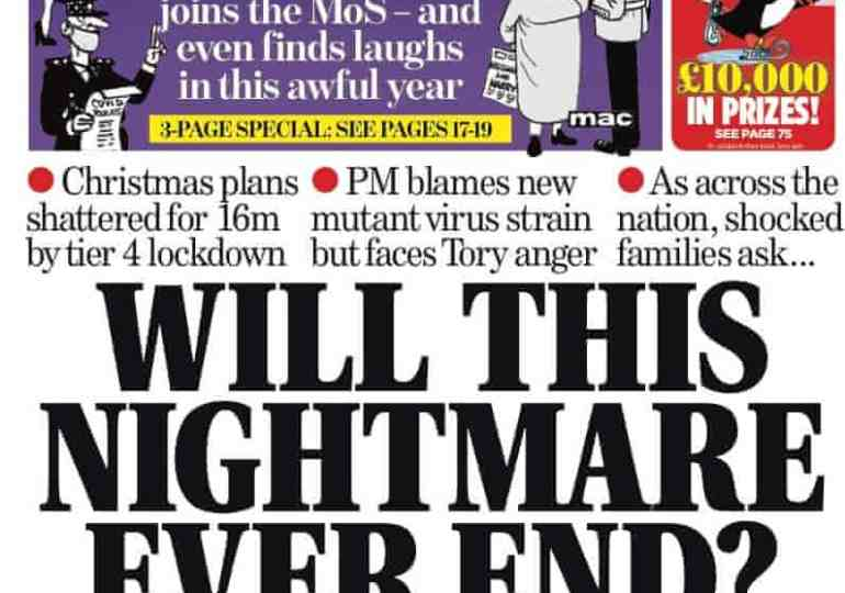 The Sunday papers - The Mail leads with 'Will this nightmare ever end'