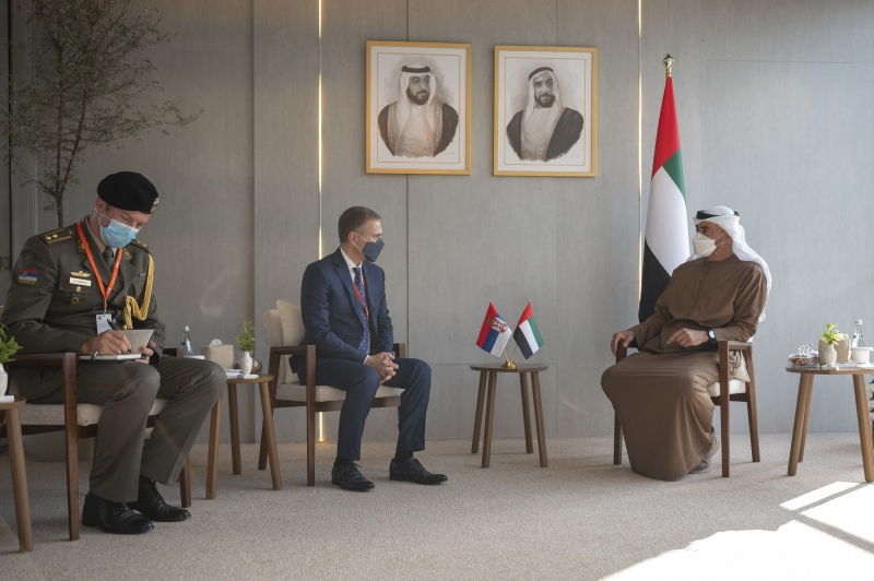 HH Sheikh Mohamed bin Zayed Al Nahyan, Crown Prince of Abu Dhabi and Deputy Supreme Commander of the UAE Armed Forces (R) meets with HE Nebojsa Stefanovic, Deputy Prime Minister and Minister of Defence of Serbia