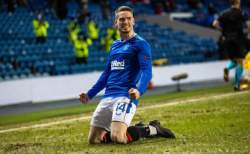 Ryan Kent celebrates for Rangers in Europa League