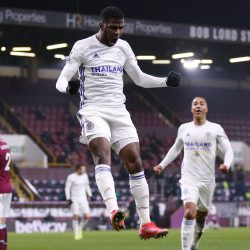 Kelechi Iheanacho celebrates his superb volley in Wednesday's Premier League fixture between Burnley and Leicester
