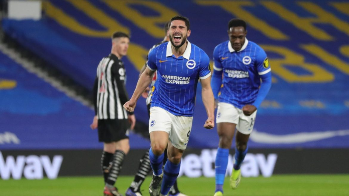 Saturday night's Premier League fixture between Brighton and Newcastle - Maupay celebrates