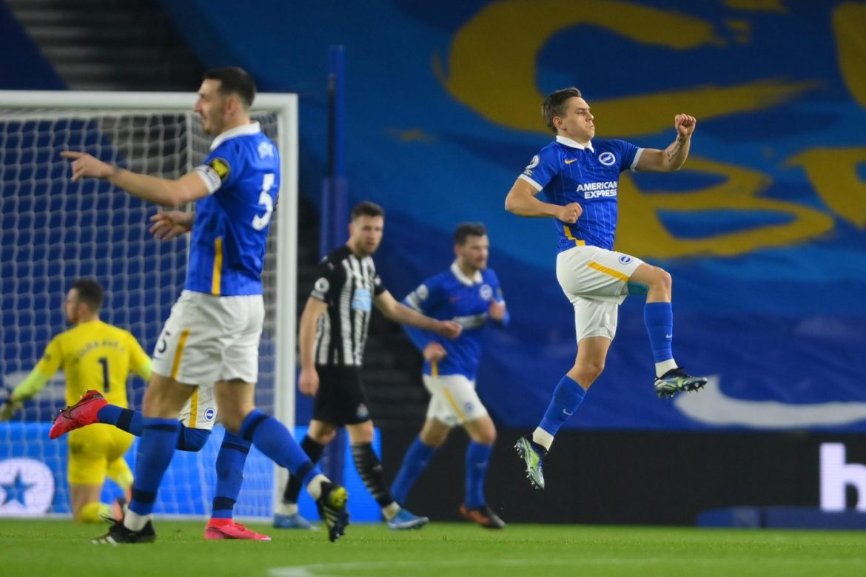 Saturday night's Premier League fixture between Brighton and Newcastle - Trossard celebrates