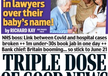 Daily Mail - 'Glum' BoJo, Triple dose of good news for 21 June