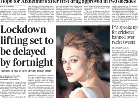 The Times - lockdown lifting 'delayed by 2 weeks'