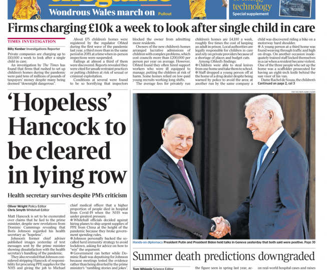 The Times - Hopeless Hancock to be cleared in lying row