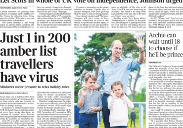 The Times - Just 1 in 200 amber list travellers have virus