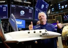 Richard Branson prepares for lift-off in his Virgin Galactic passenger rocket