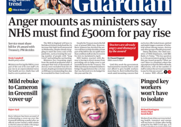 The Guardian - 'NHS must find £500m for pay rise'