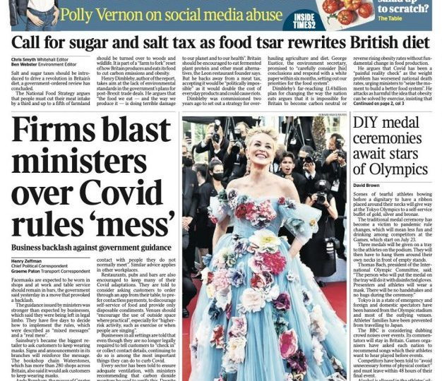 The Times - Firms blast ministers over Covid rules 'mess'