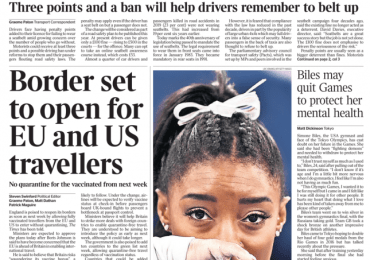 The Times - 'Border to reopen for EU and US'