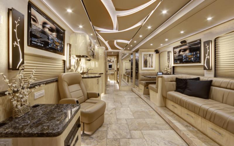 Inside a luxury celebrity tour bus
