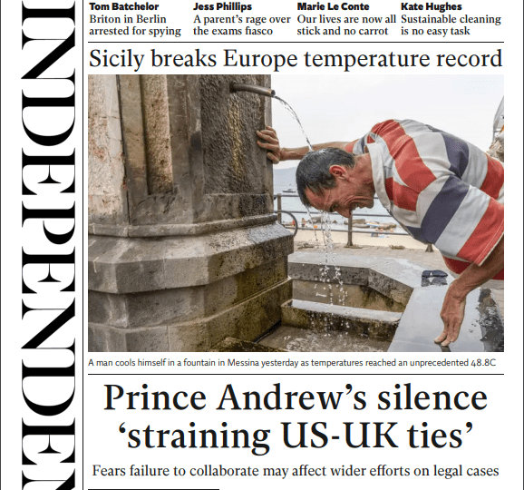 The Independent - 'Prince Andrew's silence straining ties'